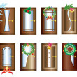 Stock Vector: Doors with Christmas decorations.