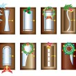 Doors with Christmas decorations. — Stock Vector #14831369
