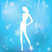 Winter background with a silhouette of a girl. — Stock Vector