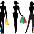 Silhouettes of women with shopping. — Stock Vector