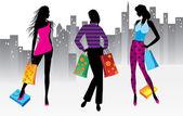 Vrouwen op winkelen — Stockvector