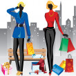 Stock Vector: Women on shopping