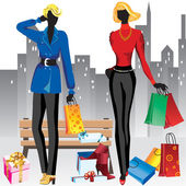 Women on shopping — Stock Vector