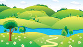 Landscape with the river. — Stock Vector