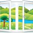 Royalty-Free Stock Vector Image: Landscape in the open window