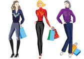 Girls on shopping. — Stock Vector