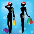 Women on shopping. — Stock Vector