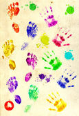 Prints of palms and foots — Stock Photo