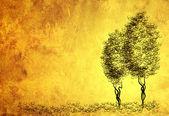 Pergamena foglio con figura di alberi — Foto Stock