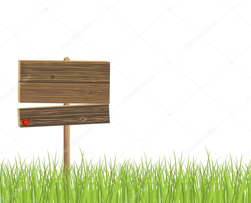 Wooden signboard and green grass — Stock Vector #12425212