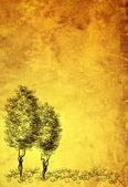 Blatt Pergament mit Abbildung von Bäumen — Stockfoto