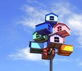 Barevné hnízdní boxy — Stock fotografie