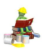 Puppet, studying repair manual — Stock Photo
