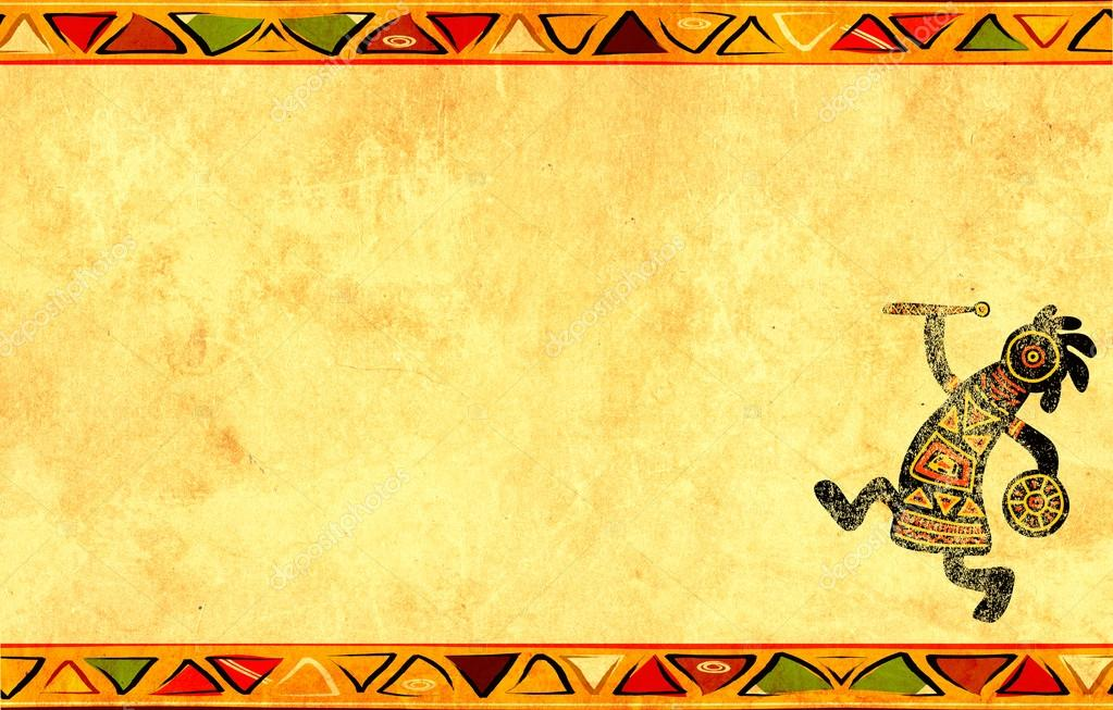Dancing musician. Grunge background with African traditional patterns — Stock Photo #13411065