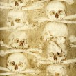 Background with human skulls and bones - Stock Photo