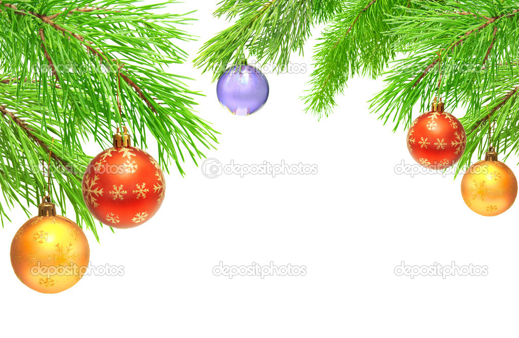 Christmas ornaments on a branch of a pine. Isolated over white — Stockfoto #13721289