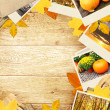 Royalty-Free Stock Photo: Frame with autumn leaves and photos