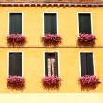 Windows with geranium — Stock Photo