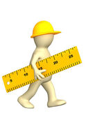 Builder with ruler — Stock Photo