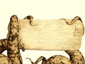 Dokunaçlar ahşap tahta tutan bir canavar — Stok fotoğraf