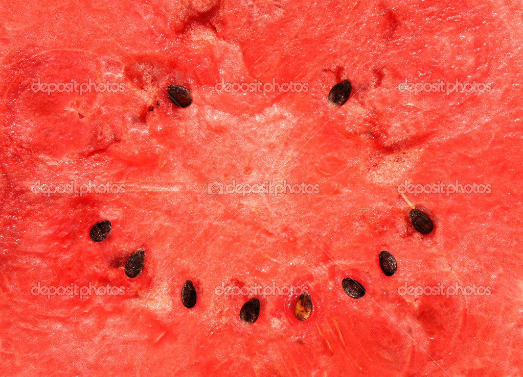 Smiling watermelon. Red texture of sweet watermelon — Stock Photo #14443187