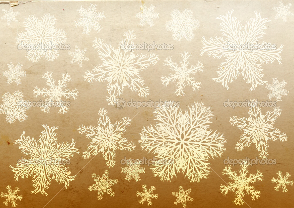 Christmas grunge background with snowflakes and paper texture — Photo #14766405