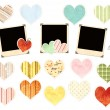Collection of photos and paper hearts — Stock Photo