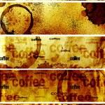 ensemble de bannières avec la texture du papier et des gouttes de café — Photo