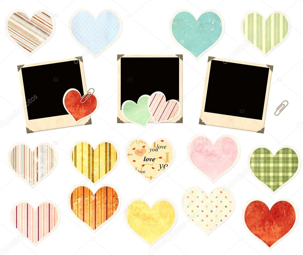 Set of photos and paper hearts — Stock Photo #19402373