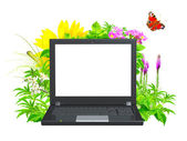 Laptop and green leaves — Stock Photo