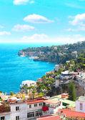 Panorama of Naples and Mediterranean sea — Stock Photo
