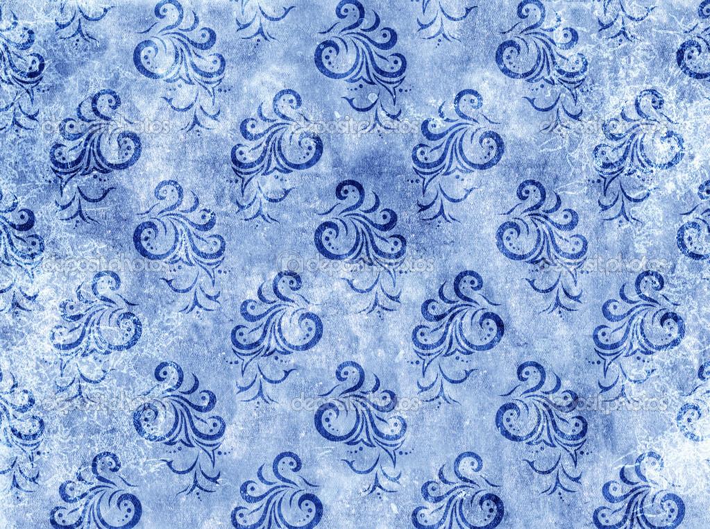 纸张纹理的蓝色颜色与花卉装饰– 图库图片