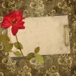 Royalty-Free Stock Photo: Old cards and dry rose