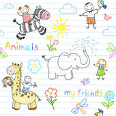 Seamless background with happy children's and animals — Vector de stock