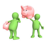 Two puppet with piggy bank — Stock Photo