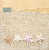 Starfishes on canvas texture — Stock Photo