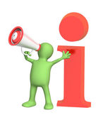 3d puppet with megaphone — Stock Photo