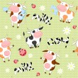 Vector seamless background with cute cows — Stock Vector