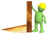 新实木复合地板木板的木偶 — 图库照片