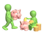 Puppets with piggy banks — Stock Photo