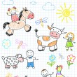 Vector sketches happy children's and farm animals — Stock Vector