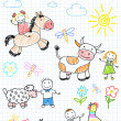 Vector sketches happy children's and farm animals — Stock Vector #30085115