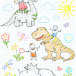 Vector sketches happy children's and dinosaurs — Stock Vector