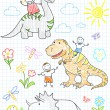 Stock Vector: Vector sketches happy children's and dinosaurs