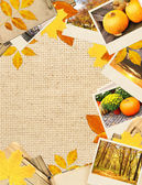 Frame with autumn leaves and photos — Stock Photo