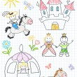 Vector sketches with happy princes and princesses — Stock Vector
