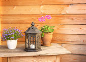 Flowers and old lantern on a wooden table — Stock Photo