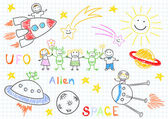 Vector sketches with happy children's and aliens — Vector de stock