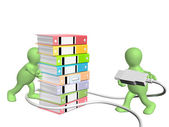 Two puppets with usb cable and folders — Stock Photo