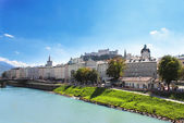 View of city salzburg and Salzach river, Austria — Stock Photo